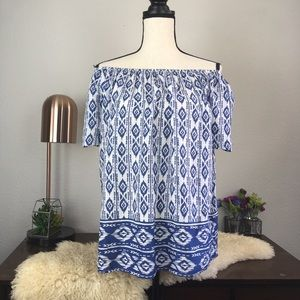 Beach Lunch Lounge off the shoulder ikat tribal
